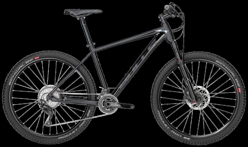Bulls Mountainbike in schwarz mit shimano xt schaltung, rockshox federgabel und schwalbe rocket ron reifen