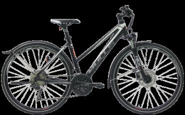 Bulls Crossrad mit Trapezrahmen in schwarz mit shimano schaltung und suntour federgabel