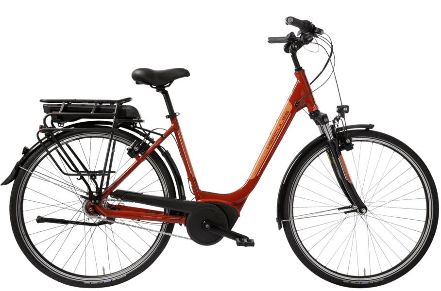 rotes Damen City E Bike mit tiefem Einstieg, 7 Gang Shimano Nabenschaltung und Bosch System