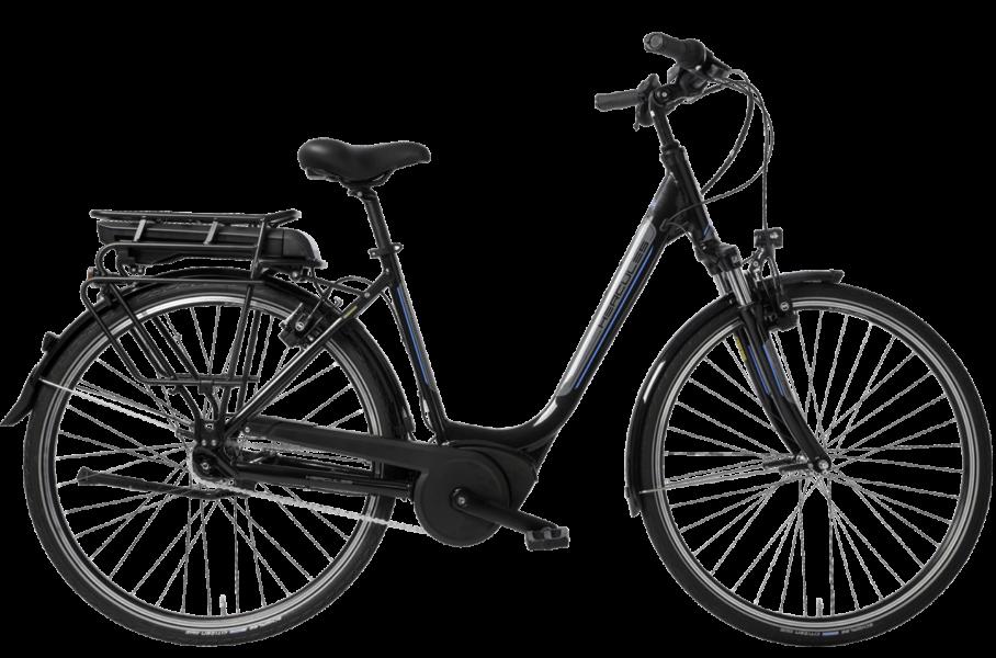 schwarzes Damen City E Bike mit tiefem Einstieg, 7 Gang Shimano Nabenschaltung und Bosch System