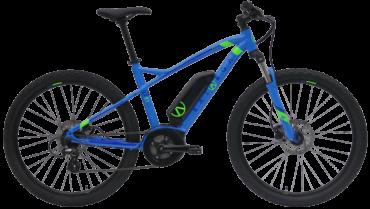 blaues Elektro Mountainbike mit Bosch System, Federgabel und Scheibenbremsen