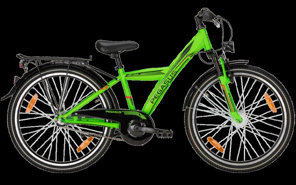 Pegasus Kinderrad mit herrenrahmen in grün mit shimano Nabenschaltung und suntour federgabel