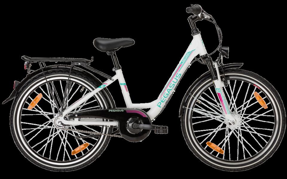 Pegasus Kinderrad mit tiefeinstieg in weiß mit shimano Nabenschaltung und suntour federgabel