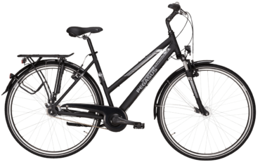 schwarzes Damen Cityrad von Pegasus mit 7 Gg Nabenschaltung mit Trapezrahmen