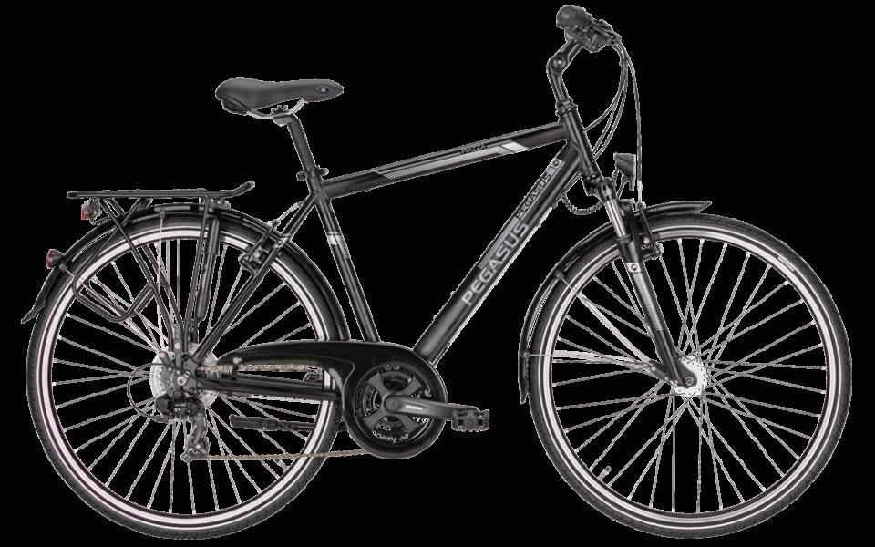 Pegasus Trekkingrad als Herrenrad in schwarz mit shimano nabenschaltung und suntour federgabel