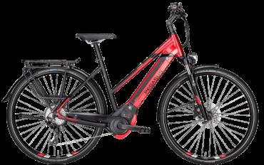 Pegasus Pedelec in Rot in Trapezrahmen mit Bosch Motor, Shimano Scheibenbremsen und Shimano Schaltung mit Schwalbe Marathon Plus Reifen