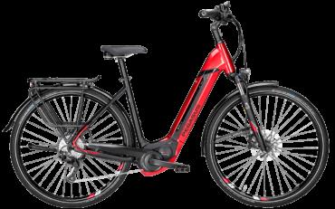 Pegasus Pedelec in Rot in Tiefeinstieg mit Bosch Motor, Shimano Scheibenbremsen und Shimano Schaltung mit Schwalbe Marathon Plus Reifen