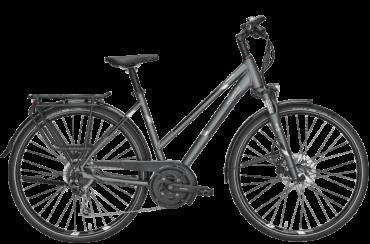 graues Damen Trekkingrad mit Scheibenbremsen, Shimano Nabenschaltung und Trapez Rahmenform