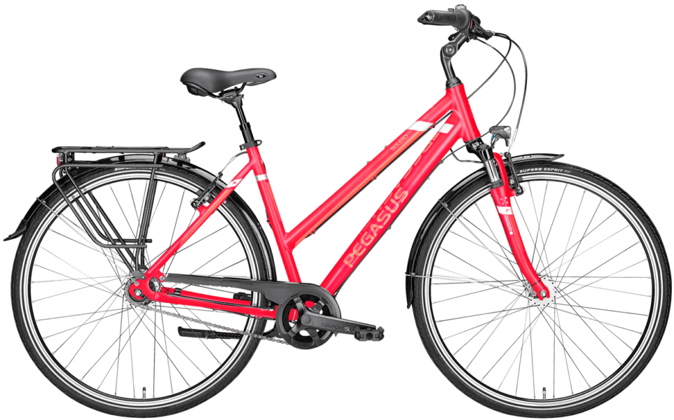 rotes Damen Cityrad von Pegasus mit 7 Gg Nabenschaltung mit Trapezrahmen