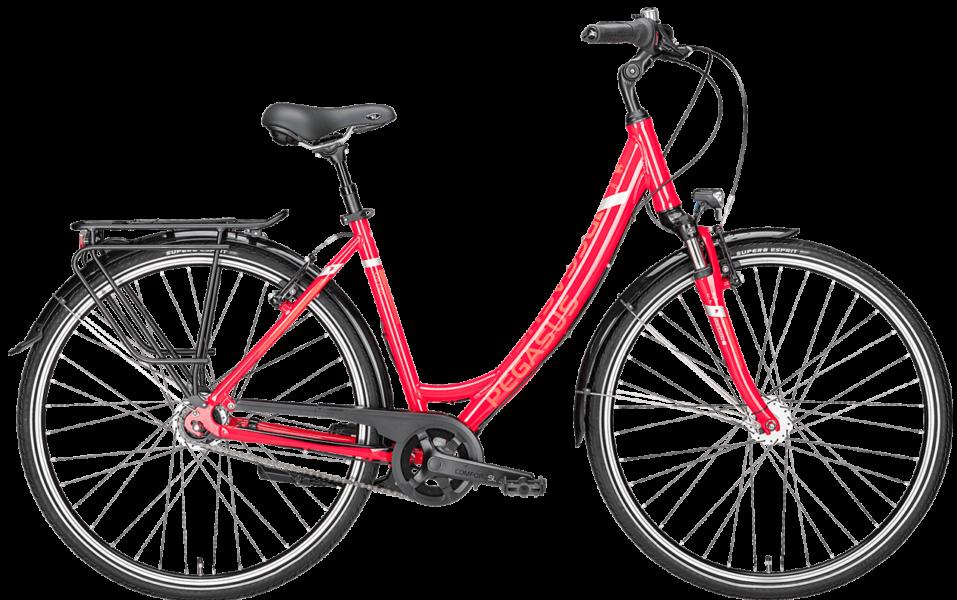 rotes Damen Citybike von Pegasus mit 7 Gang Schaltung und Uno Rahmen