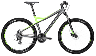 Bulls Mountainbike in grau/gelb mit Federgabel, Scheibenbremsen und Shimano Schaltung