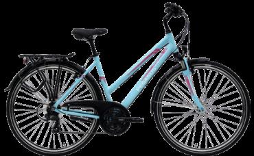 blaues Damen Trekking Rad von Pegasus mit 21 Gang Shimano Schaltung und Trapezrahmen