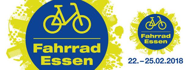 blauer Button mit einem gelben Fahrrad Pictogramm und dem Text: Fahrrad Essen