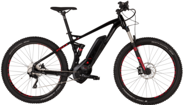 Bulls Fully Pedelec in schwarz rot mit bosch motor und shimano kettenschaltung und rockshox federgabel