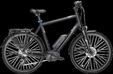 Pegasus Pedelec in Schwarz in Herrenrahmen mit Bosch Motor, Shimano Scheibenbremsen und Shimano Schaltung mit Schwalbe Marathon Plus Reifen