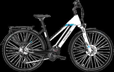 Pegasus Pedelec in Weiß in Trapezrahmen mit Bosch Motor, Shimano Scheibenbremsen und Shimano Schaltung mit Schwalbe Marathon Plus Reifen