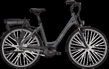 graues Damen City E Bike mit tiefem Rahmen, Bosch Motor und 7 Gang Shimanoschaltung